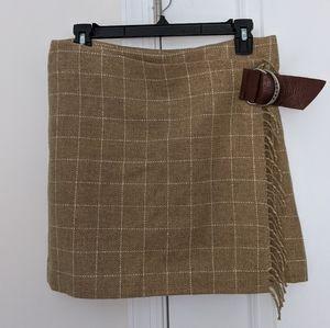 Ralph Lauren Wool Plaid Wrap Skirt Belted